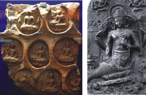 Dhyani Buddha in Terracotta Plaque in different postures from the