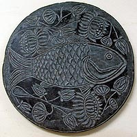 Fish motif  in a clump of Lotus undivided Bengal), 19th Century A.D.- collection of Gurusady Museum