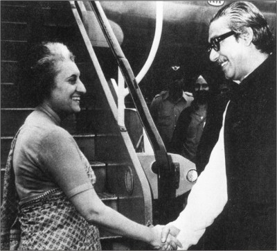 Bangabandhu bids farewell to Indira Gandhi at Tejgaon airport in March 1972.