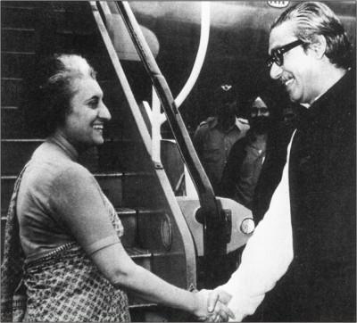 Bangabandhu bids farewell to Indira Gandhi at Tejgaon airport in March 1972.