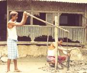 traditional bamboo drillin- in Noakhali requires only two pieces of Bamboo