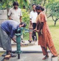 Low cost shallow well  (green) with arsenic free sweet water close to the DPHE constructed deep tube well - saline and iron rich water at Noakhali- May 2004.