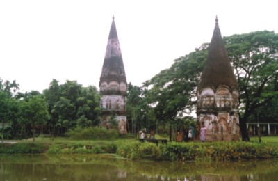 Shiva temple (right) in which Chandrabati used to pray next to the Manasha temple