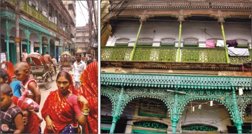 elegant historical structure in the busy alleyway of Tantibazar before demolition,